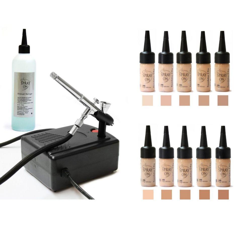 Airbrush Make-up Profi  Komplettausstattung Silicone Basic
