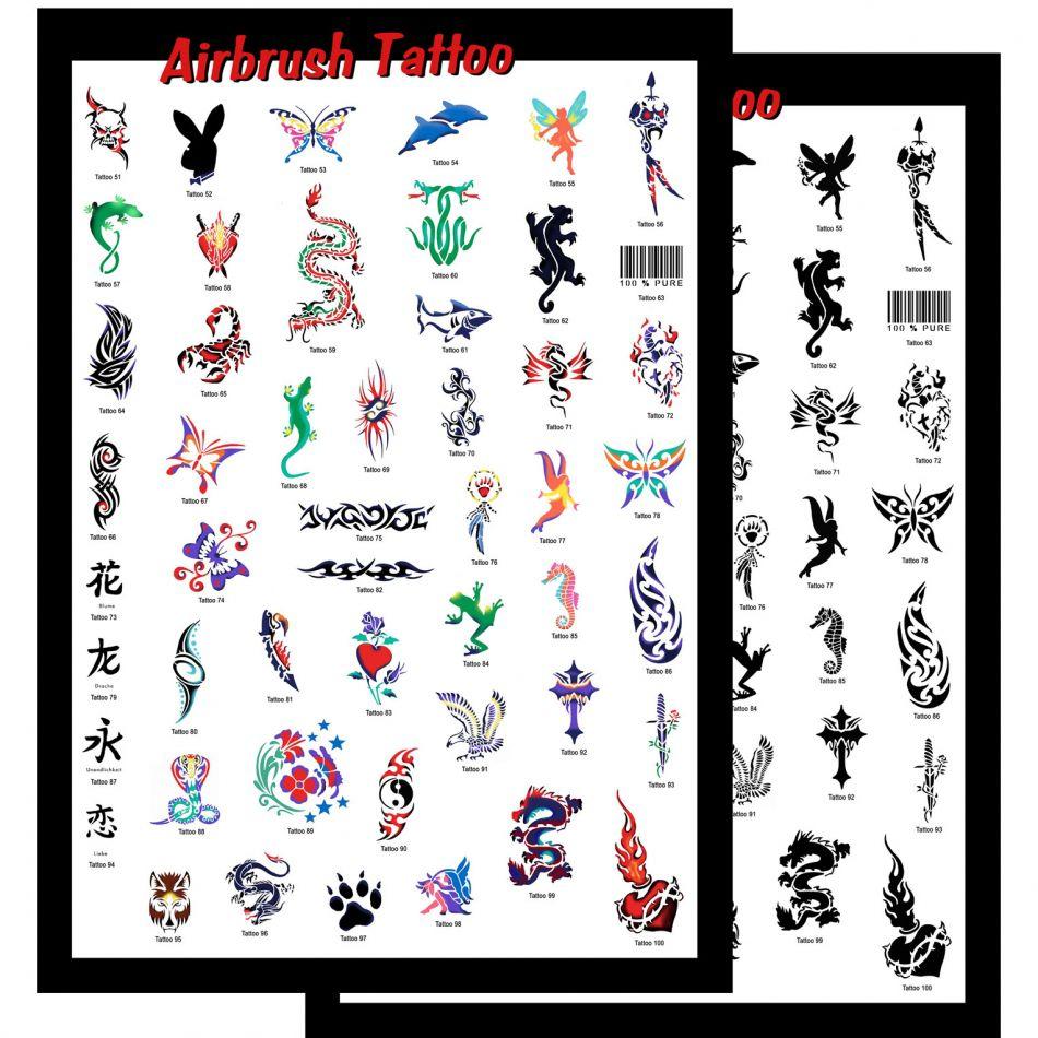 Airbrush Schablonen Set Tattoo 1