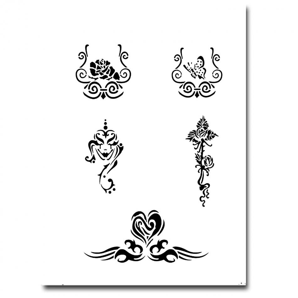 tattoo 215 airbrush schablonen. Black Bedroom Furniture Sets. Home Design Ideas